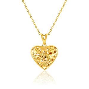 9ct Yellow Gold Fligree Floral Heart Pendant