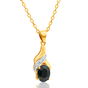 9ct Charming Yellow Gold Diamond + Natural Sapphire Pendant