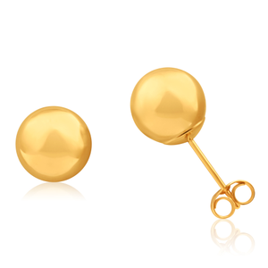 9ct Yellow Gold Ball 8mm Stud Earrings