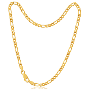 9ct Elegant Yellow Gold Figaro Anklet