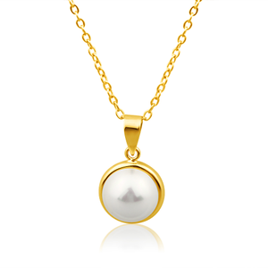 9ct Dazzling Yellow Gold Simulated Pearl Pendant