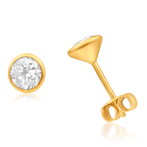9ct Yellow Gold Cubic Zirconia 5mm Bezel Set Stud Earrings