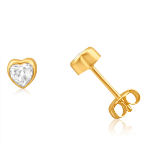 9ct Yellow Gold Gorgeous Cubic Zirconia Stud Earrings