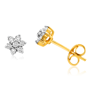 9ct Yellow Gold 1/5 Carat Dazzling Diamond Stud Earrings