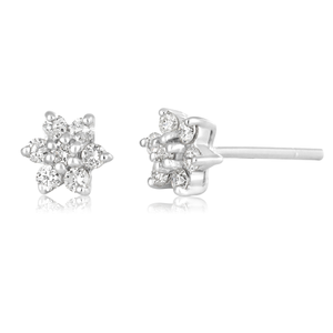 9ct White Gold Dazzling Stud Earrings