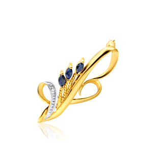 9ct Yellow Gold Diamond + Natural Sapphire Brooch