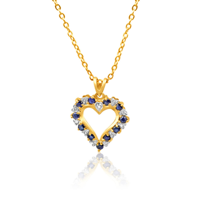 9ct Yellow Gold Diamond + Natural Sapphire Pendant