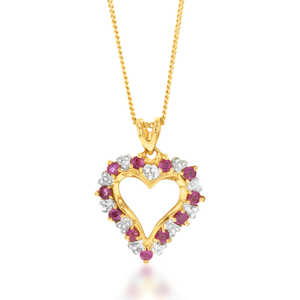 9ct Alluring Yellow Gold Diamond + Ruby Pendant