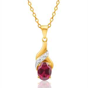 9ct Delightful Yellow Gold Created Ruby + Diamond Pendant