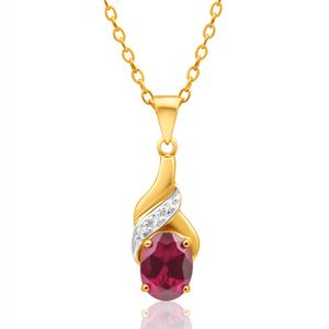 9ct Delightful Yellow Gold Created Ruby + Diamond Pendant