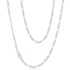 9ct White Gold Figaro Chain