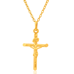 9ct Yellow Gold Crucifix Bar Pendant