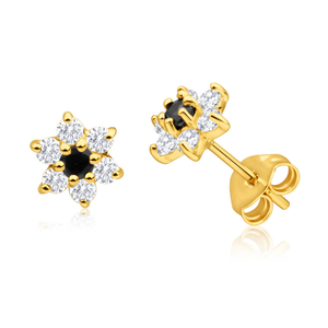9ct Yellow Gold Cubic Zirconia + Natural Sapphire Flower Stud Earrings