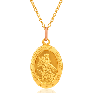 9ct Yellow Gold Oval St Christopher Pendant