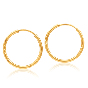 9ct Yellow Gold 13mm Hoop Earrings