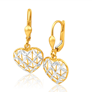9ct Yellow Gold & White Gold tone Heart shaped filigree Drop Earrings