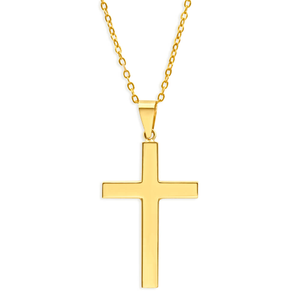 9ct Yellow Gold Large Plain Cross Pendant