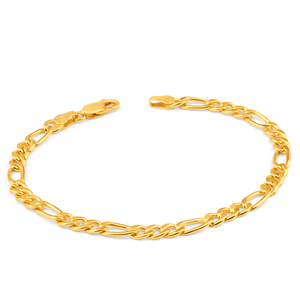 9ct Superb Yellow Gold Copper Filled Figaro Bracelet