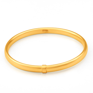 9ct Yellow Gold Silver Filled 6mm x 65mm Bangle