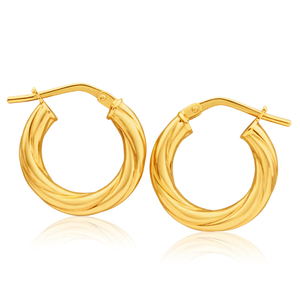 9ct Yellow Gold Silver Filled Soft Twist 10mm Hoop Earrings
