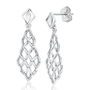 9ct White Gold Filigree Cutouts Stud Drop Earrings