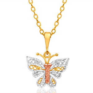 9ct Yellow Gold, White Gold & Rose Gold Butterfly Pendant