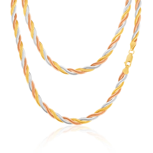 9ct Three Tone Gold Silver Filled Plait Herringbone 45cm Chain