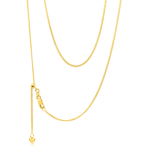 9ct Yellow Gold Silver Filled Extend 55cm Curb Chain 40 Gauge