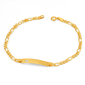 9ct Yellow Gold Silver Filled Heart 19cm Bracelet