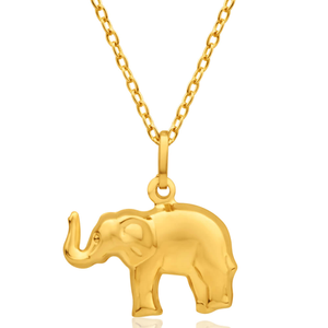 9ct Yellow Gold Lucky Elephant Pendant