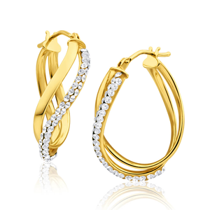 9ct Gorgeous Yellow Gold Crystal Hoop Earrings