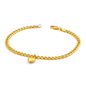 9ct Yellow Gold Silver Filled Heart Drop Curb Bracelet