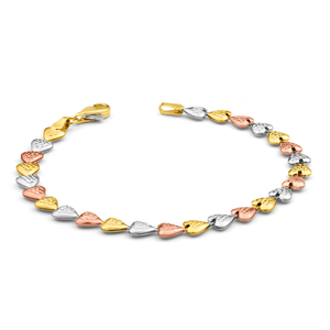9ct Yellow Gold Silver Filled Heart Stone Fancy Bracelet