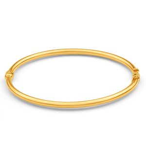 9ct Yellow Gold Silver Filled plain Hinge Bangle