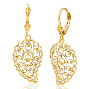 9ct Radiant Yellow Gold & White Gold Drop Earrings