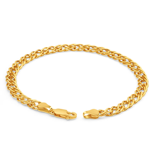 9ct Yellow Gold Silver Filled Double 19cm Curb Bracelet