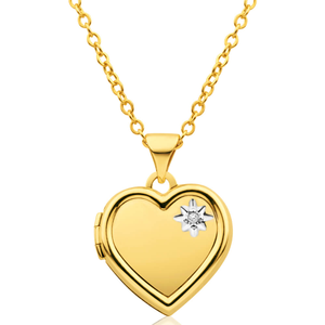 9ct Yellow Gold Heart Shaped Locket with Diamond TW=0.005ct