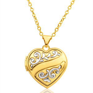 9ct Yellow Gold Heart Shaped Locket with Floral Design