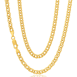9ct Yellow Gold Silver Filled Double Curb 45cm Fancy Chain 70 Gauge