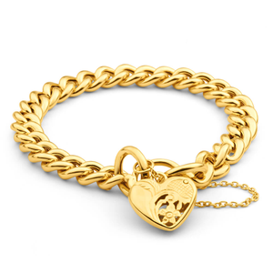 9ct Yellow Gold Silver Filled Padlock 20cm Curb Bracelet