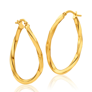 9ct Yellow Gold Silver Filled Oval with Twist 30mm Hoop Earrings