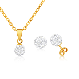 9ct Yellow Gold Crystal Jewellery Set