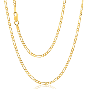 9ct Yellow Gold Silver Filled 50cm Figaro Chain 50 Guage