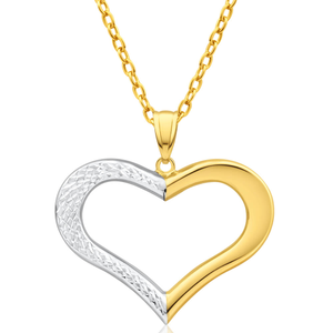 9ct Yellow Gold & White Gold Heart Pendant