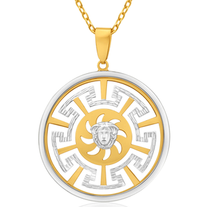 9ct Yellow Gold & White Gold Greek Key Pendant