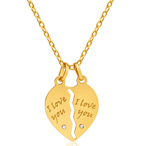 9ct Yellow Gold with Cubic Zirconia 'I Love You' Break Pendant