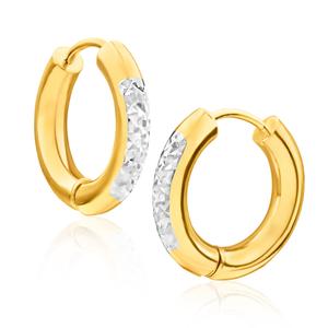 9ct Yellow Gold Silver Filled Two Tone Diamond Cut Hoop Earrings