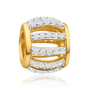 9ct Yellow Gold Bellagio Barrel 1/4 ct Diamond Bead