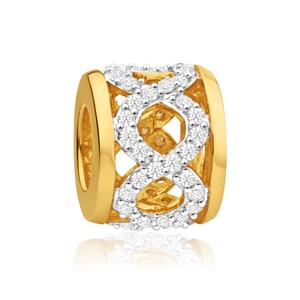 9ct Yellow Gold Bellagio Plait  1/4 ct Diamond Bead