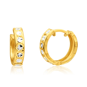 9ct Yellow Gold Huggie Hoop Earrings with diamond cut feature with Rhodium